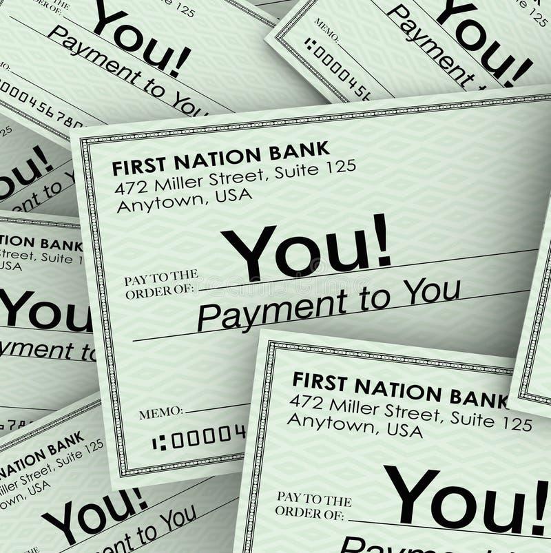 Kontrollgeld-Zahlung an Sie Einkommens-Gehaltsscheck lizenzfreie abbildung