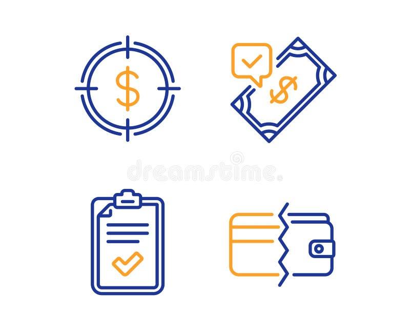 Kontrollista, accepterad betalning och upps?ttning f?r dollarm?lsymboler Betalningmetodtecken vektor royaltyfri illustrationer