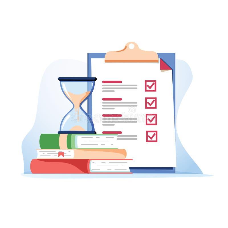Kontrollista för begrepp för undersökning för prov för examenförberedelseskola och stock illustrationer