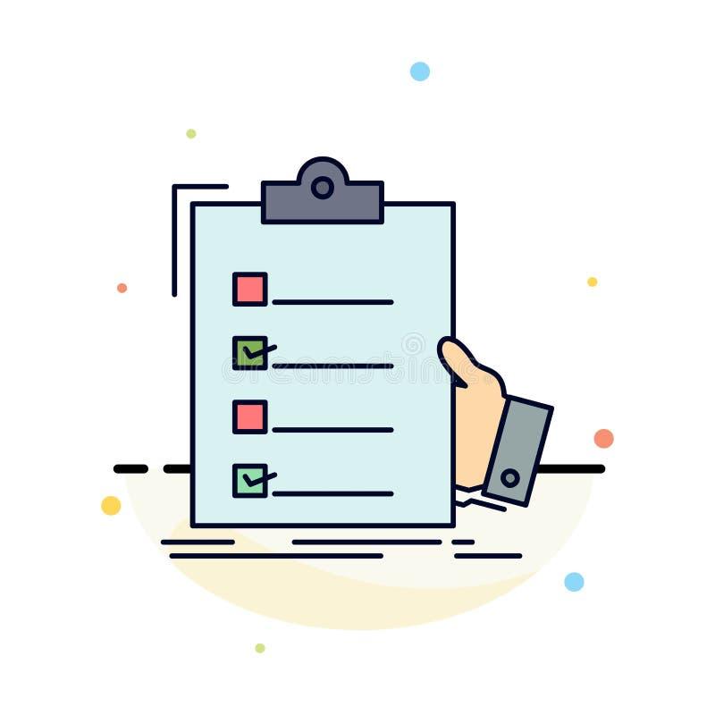 kontrollista kontroll, sakkunskap, lista, för färgsymbol för skrivplatta plan vektor royaltyfri illustrationer