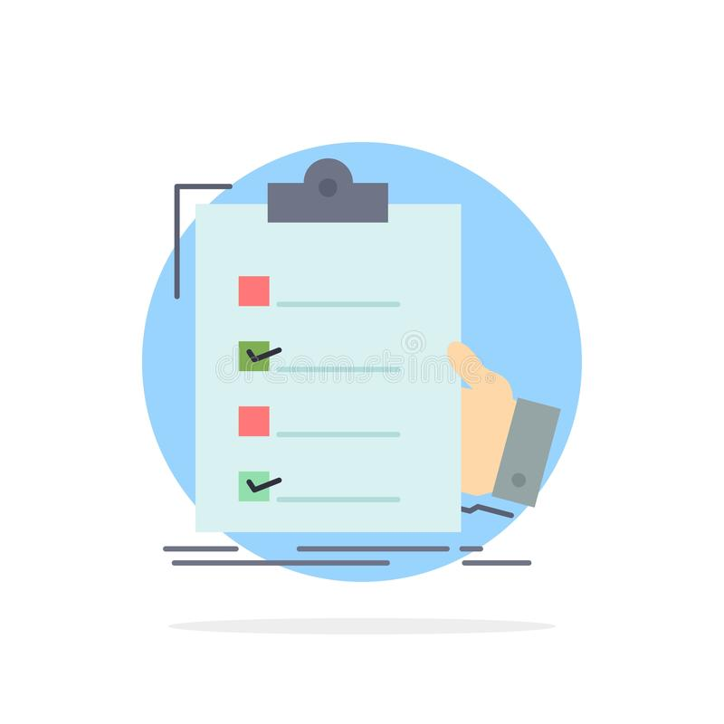 kontrollista kontroll, sakkunskap, lista, för färgsymbol för skrivplatta plan vektor vektor illustrationer