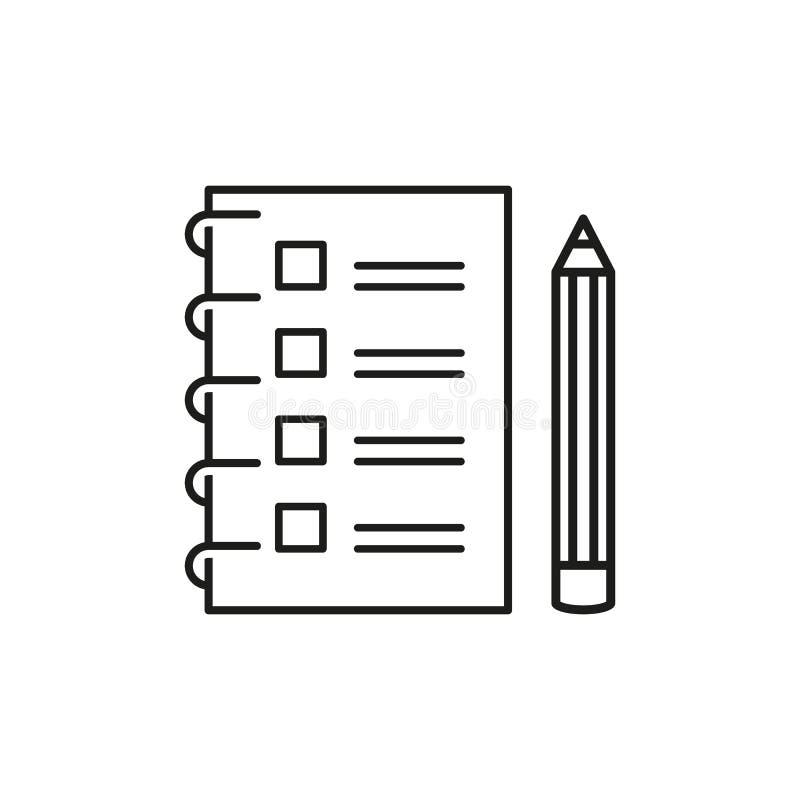 Kontrollista med en blyertspenna som gör listaöversiktssymbolen vektor illustrationer