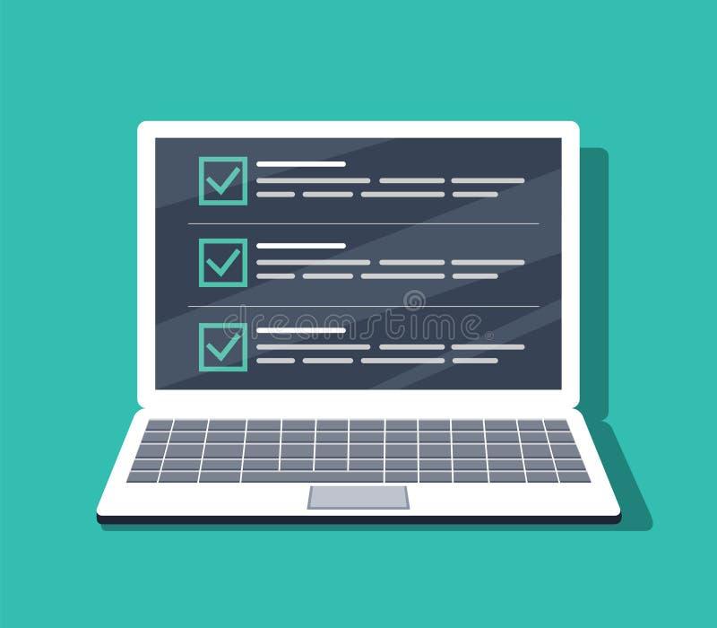 Kontrollista på bärbar datorskärmen Isolerad vektorillustration i plan stil Design för webbplatsen, baner royaltyfri illustrationer
