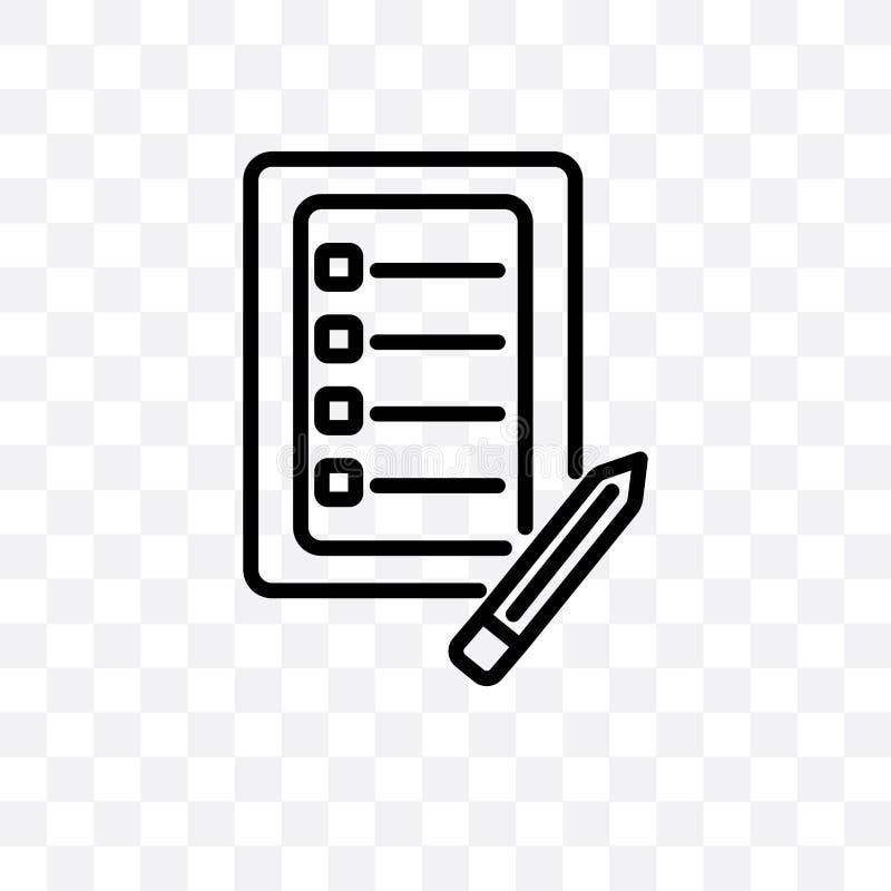 Kontrollistan med en linjär symbol för blyertspennavektor som isoleras på genomskinlig bakgrund, kontrollista med ett blyertspenn stock illustrationer