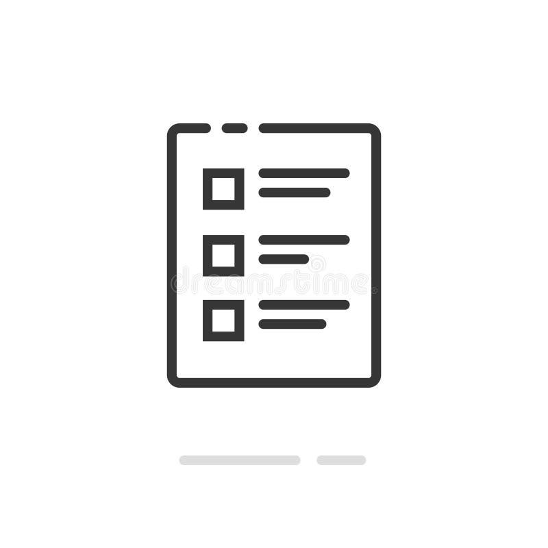Kontrollistavektorsymbol, linje översiktskonstdokument och att göra listan med checkboxessymbolet, begrepp av granskningen, onlin stock illustrationer