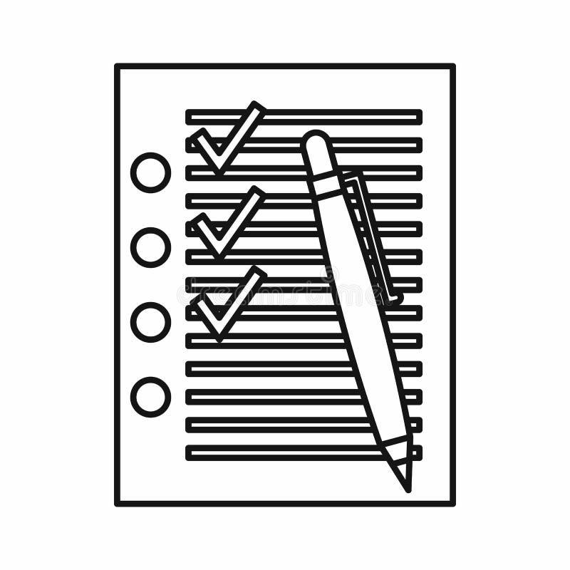 Kontrolllista med fästingar och pennsymbolen, översiktsstil royaltyfri illustrationer