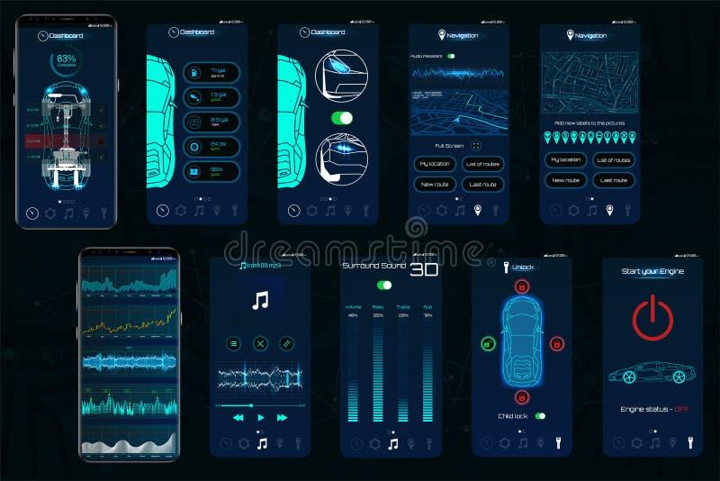 Kontrolny samochód app Mobilni interfejsów ekrany działać samochód royalty ilustracja