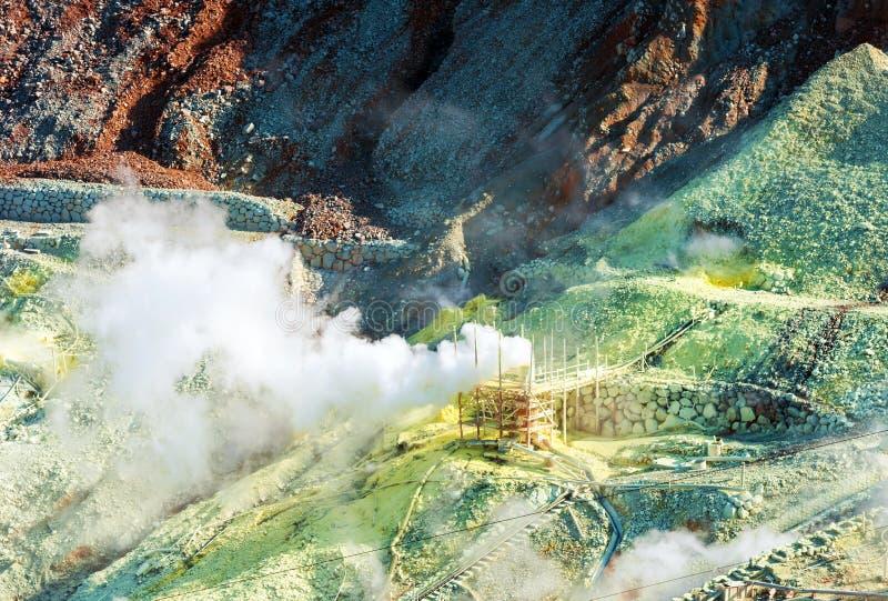 Kontrpara od gejzerów Owakudani, park narodowy Hakone, Japonia Odbitkowa przestrzeń dla teksta obrazy royalty free