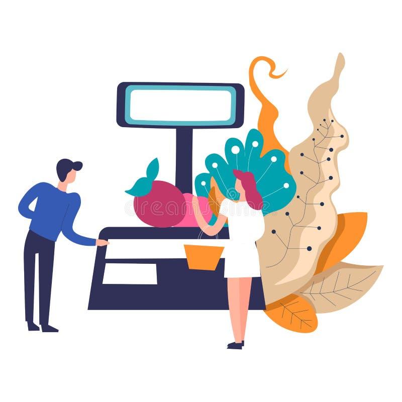 Kontuar sprzedawca, ciężar i jabłko z liśćmi, royalty ilustracja