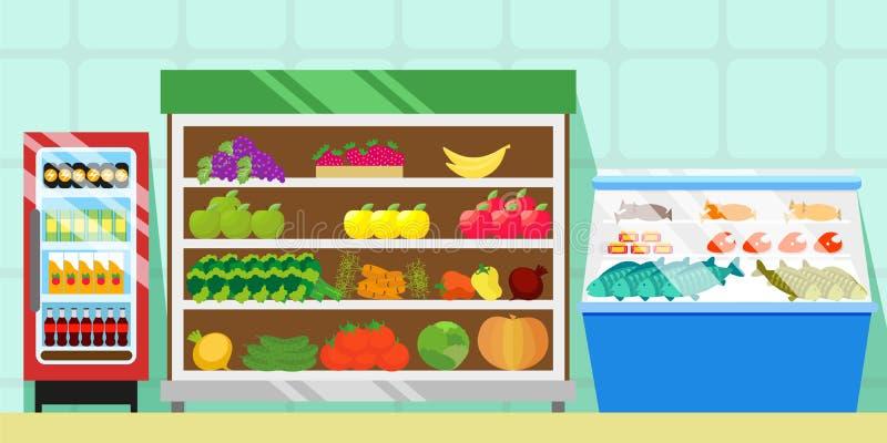 Kontuary z jedzeniem, warzywami i owoc, Chłodziarka z miękkimi napojami Gablota wystawowa z mięsem, ryba i kiełbasami, handel royalty ilustracja