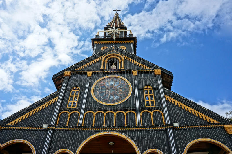 Kontum houten kerk, oude kathedraal, erfenis stock afbeeldingen