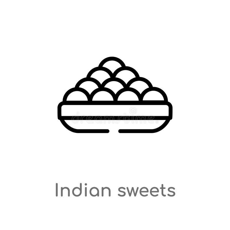 kontur?w cukierk?w wektoru indyjska ikona odosobniona czarna prosta kreskowego elementu ilustracja od indu poj?cia Editable wekto royalty ilustracja
