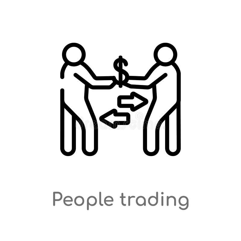 konturów ludzie handluje wektorową ikonę odosobniona czarna prosta kreskowego elementu ilustracja od istoty ludzkiej pojęcia Edit ilustracja wektor