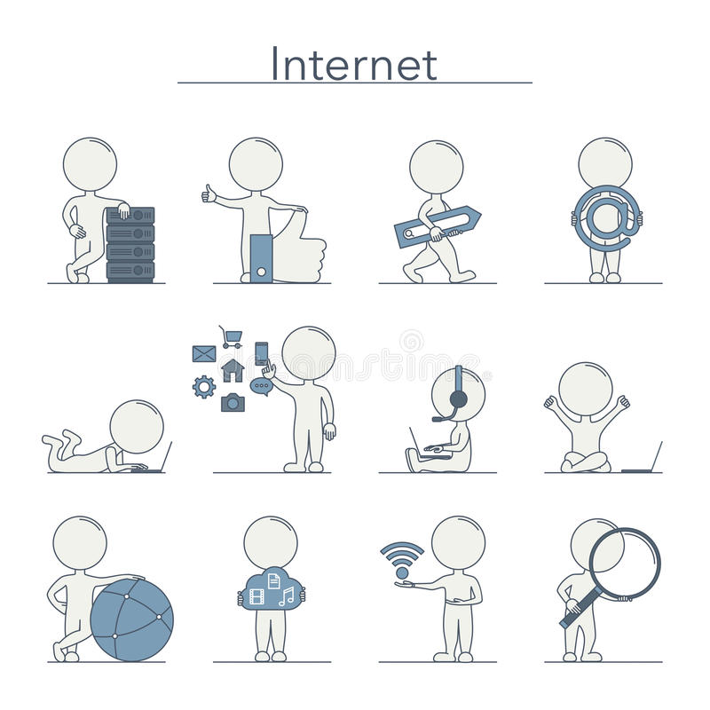 Konturów ludzie - internet ilustracja wektor