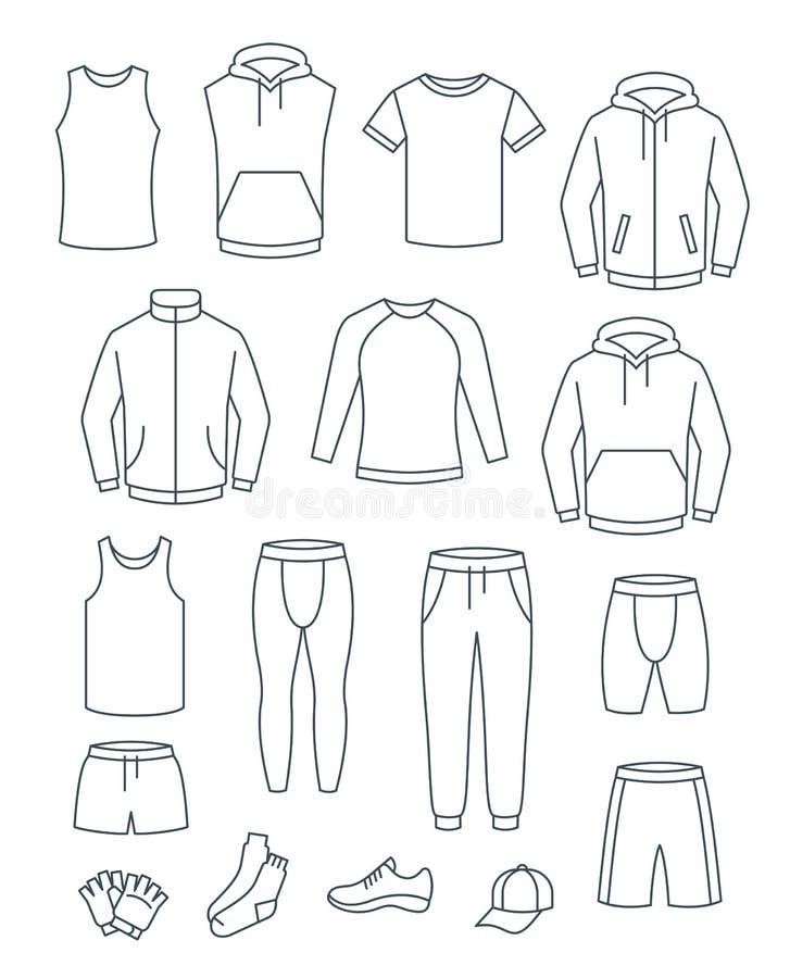 Konturów mężczyzn przypadkowi ubrania dla sprawności fizycznej szkolenia Podstawowe szaty dla gym treningu Wektor cienkie kreskow ilustracji