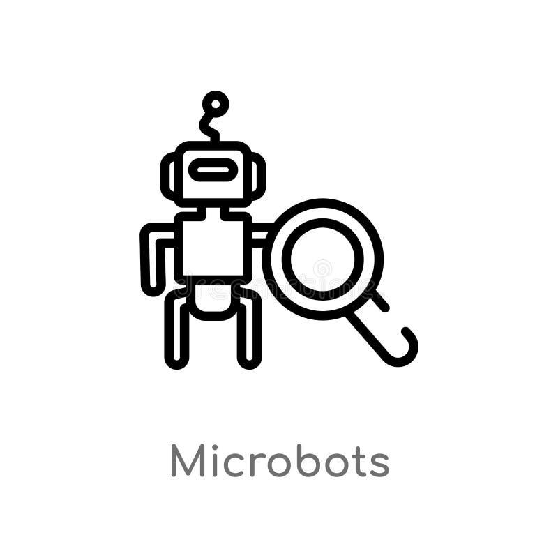 konturów microbots wektoru ikona odosobniona czarna prosta kreskowego elementu ilustracja od sztucznego intellegence pojęcia _ royalty ilustracja