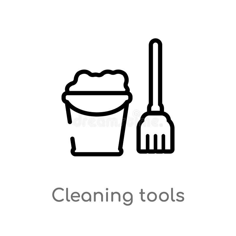konturów narzędzi wektoru czyści ikona odosobniona czarna prosta kreskowego elementu ilustracja od czyści pojęcia Editable wektor royalty ilustracja
