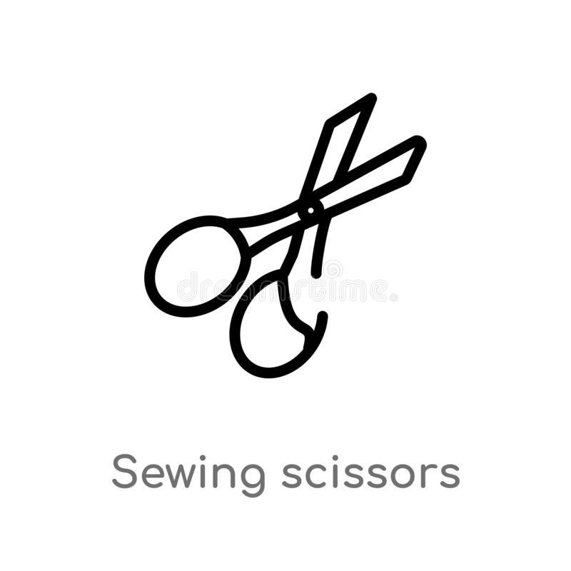 konturów nożyc wektoru szwalna ikona odosobniona czarna prosta kreskowego elementu ilustracja od szy pojęcie Editable wektorowy u ilustracja wektor