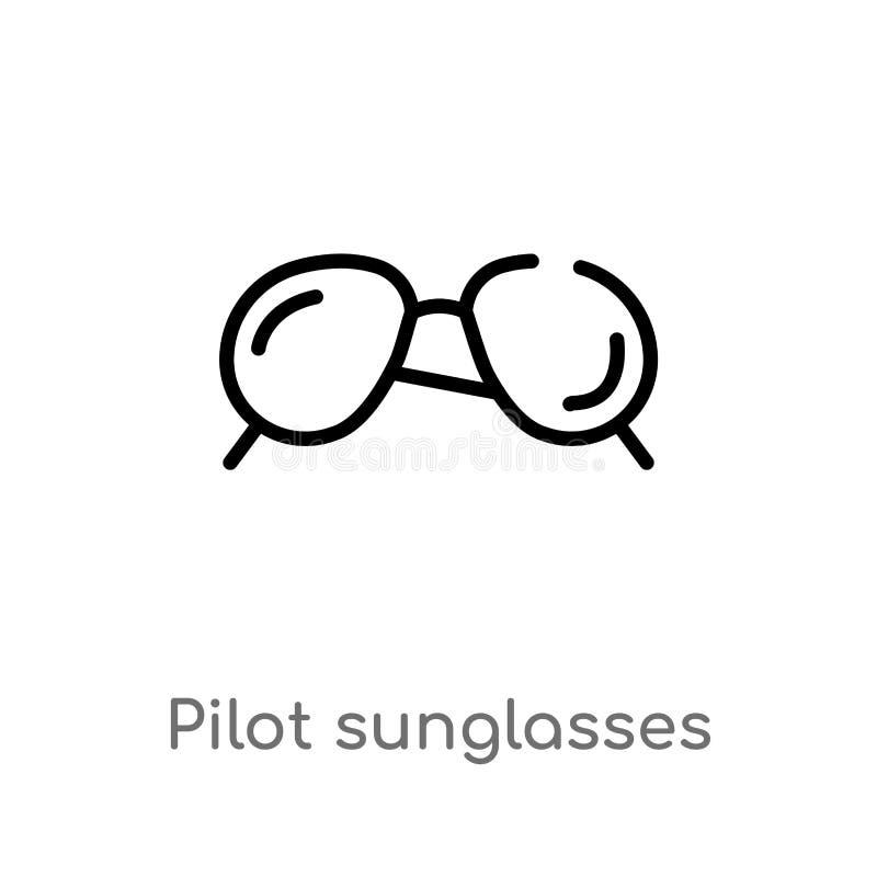 kontur?w okular?w przeciws?onecznych wektoru pilotowa ikona odosobniona czarna prosta kreskowego elementu ilustracja od odzie?owe ilustracja wektor