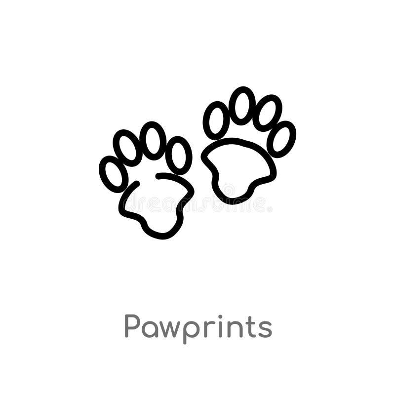 konturów pawprints wektoru ikona odosobniona czarna prosta kreskowego elementu ilustracja od zwierzęcia pojęcia Editable wektorow ilustracja wektor