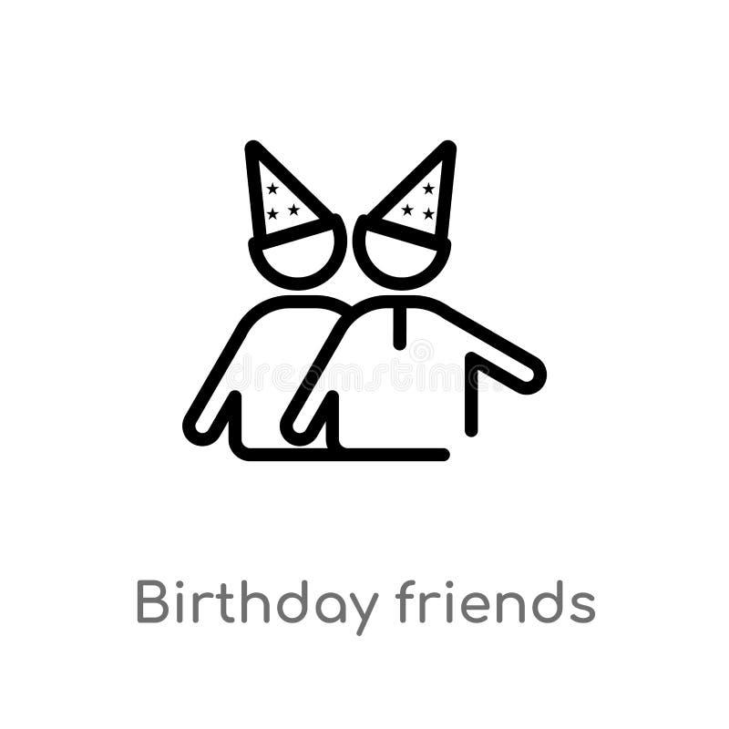 konturów przyjaciół wektoru urodzinowa ikona odosobniona czarna prosta kreskowego elementu ilustracja od partyjnego pojęcia Edita royalty ilustracja