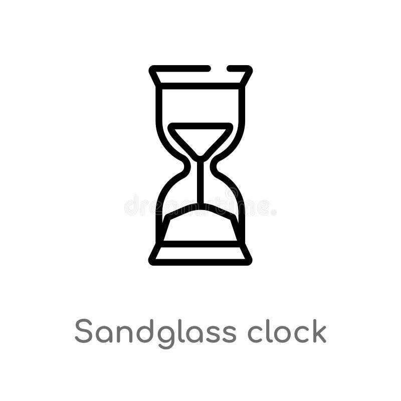 kontur?w sandglass zegarowa wektorowa ikona odosobniona czarna prosta kreskowego elementu ilustracja od czasu i daty poj?cia Edit royalty ilustracja