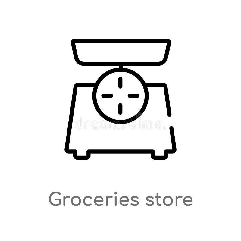 konturów sklepów spożywczych sklepu skali wektoru ikona odosobniona czarna prosta kreskowego elementu ilustracja od pomiaru po ilustracja wektor