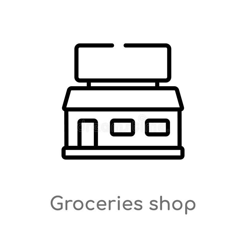 kontur?w sklep?w spo?ywczych sklepu wektoru ikona odosobniona czarna prosta kreskowego elementu ilustracja od ostatecznego glyphi royalty ilustracja
