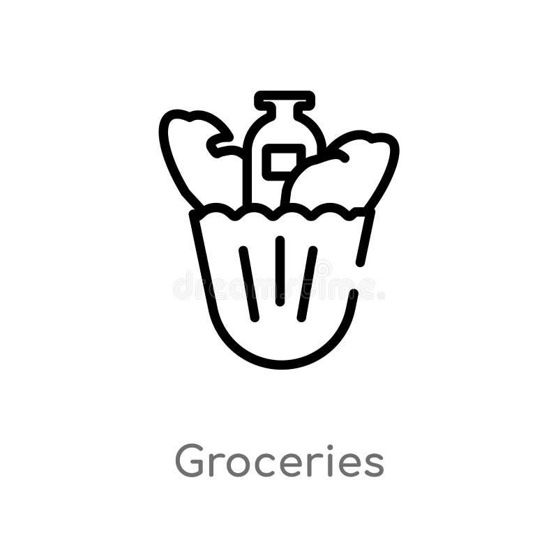 konturów sklepów spożywczych wektoru ikona odosobniona czarna prosta kreskowego elementu ilustracja od fasta food poj?cia Editabl ilustracja wektor