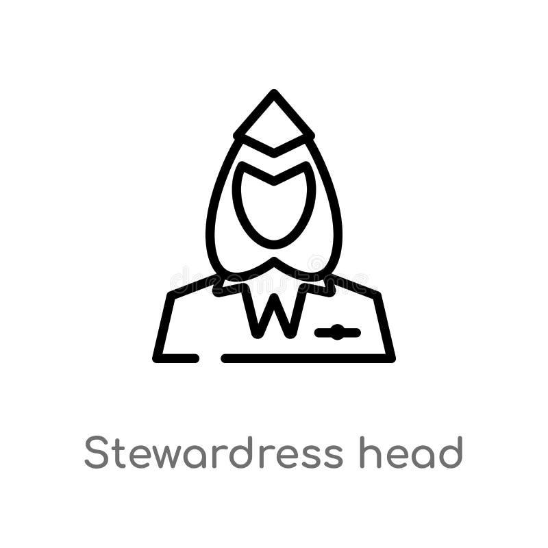 kontur?w stewardress kierownicza wektorowa ikona odosobniona czarna prosta kreskowego elementu ilustracja od lotniskowego ?mierte royalty ilustracja