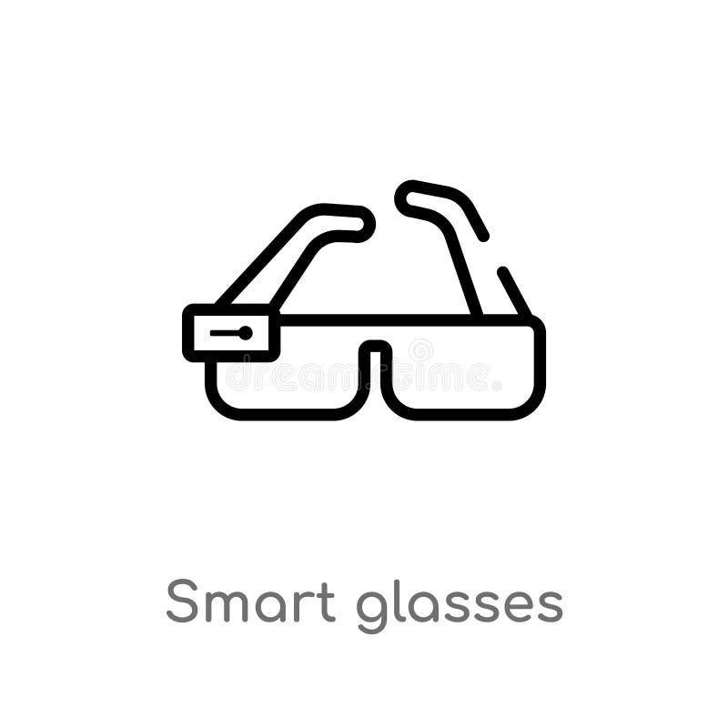 konturów szkieł wektoru mądrze ikona odosobniona czarna prosta kreskowego elementu ilustracja od przyszłościowego technologii poj ilustracja wektor