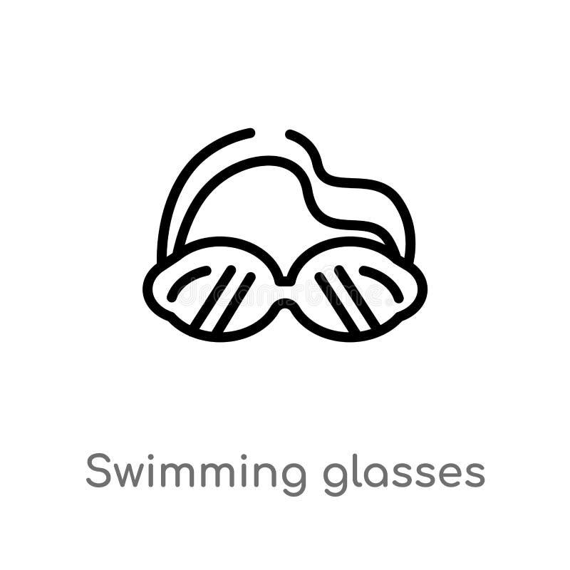 konturów szkieł wektoru pływacka ikona odosobniona czarna prosta kreskowego elementu ilustracja od nautycznego pojęcia Editable w royalty ilustracja