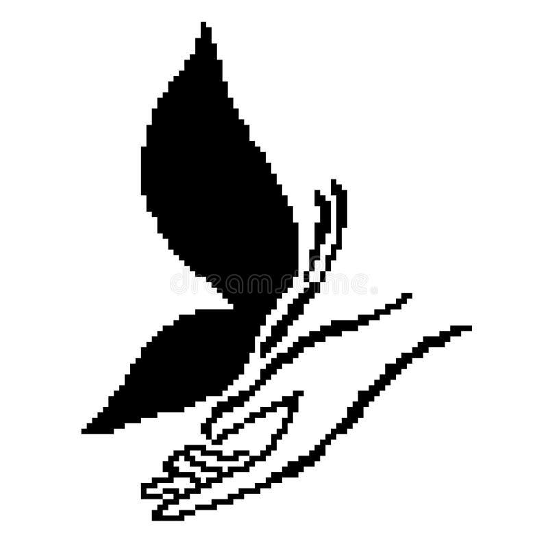 Konturöversikten av den svarta fjärilen på gömma i handflatan, dragit av fyrkanter, PIXEL också vektor för coreldrawillustration royaltyfri illustrationer