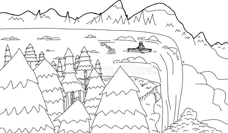 Kontur łódź przy siklawą ilustracji