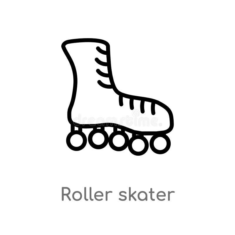 kontur łyżwiarki wektoru rolkowa ikona odosobniona czarna prosta kreskowego elementu ilustracja od mody pojęcia Editable wektorow royalty ilustracja
