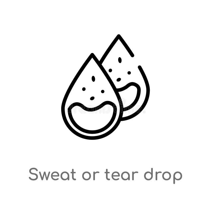 kontur łzy lub potu opadowa wektorowa ikona odosobniona czarna prosta kreskowego elementu ilustracja od cia?o ludzkie cz??ci poj? ilustracja wektor