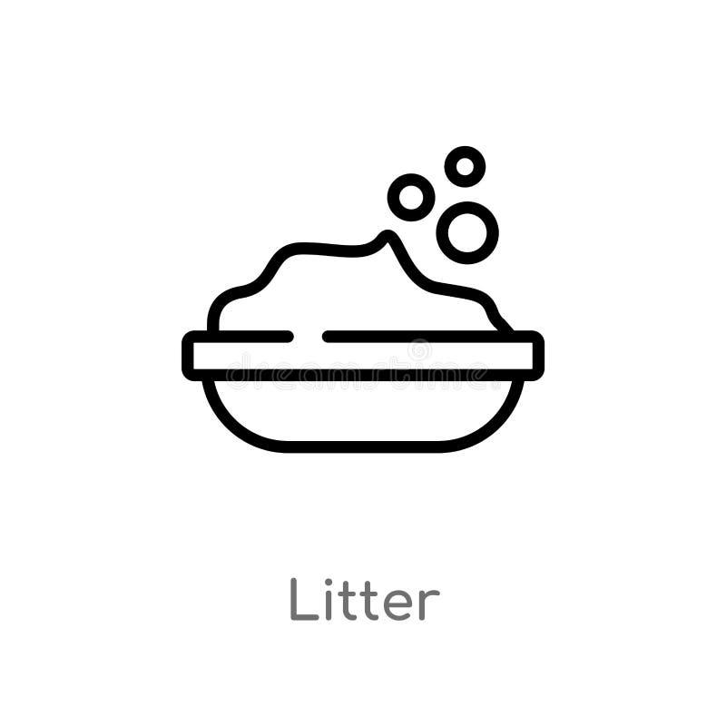 kontur ściółki wektoru ikona odosobniona czarna prosta kreskowego elementu ilustracja od zwierzęcia pojęcia editable wektorowa ud royalty ilustracja