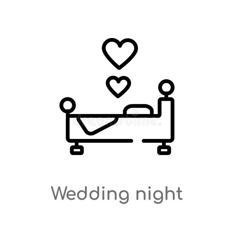 kontur ślubnej nocy wektoru ikona odosobniona czarna prosta kreskowego elementu ilustracja od kształta pojęcia Editable wektorowy ilustracji