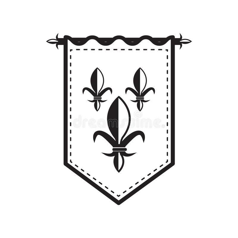 Kontur średniowieczna flaga ilustracji