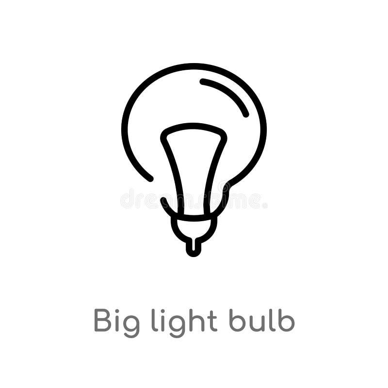 kontur żarówki wektoru duża ikona odosobniona czarna prosta kreskowego elementu ilustracja od technologii poj?cia Editable wektor ilustracja wektor