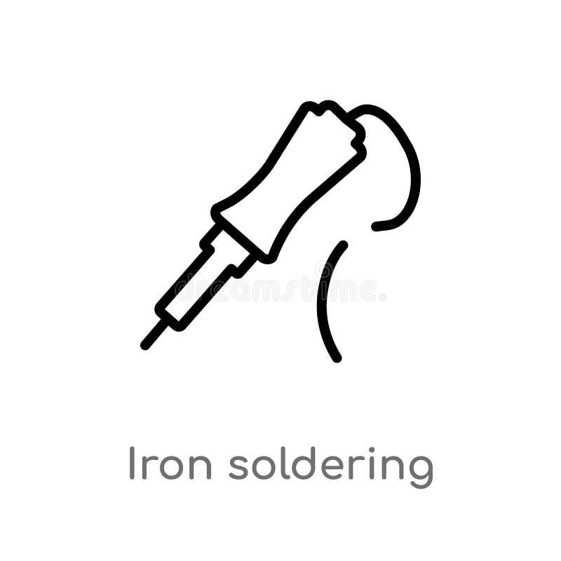 kontur żelazna lutownicza wektorowa ikona odosobniona czarna prosta kreskowego elementu ilustracja od budowy i narzędzi pojęcia _ royalty ilustracja