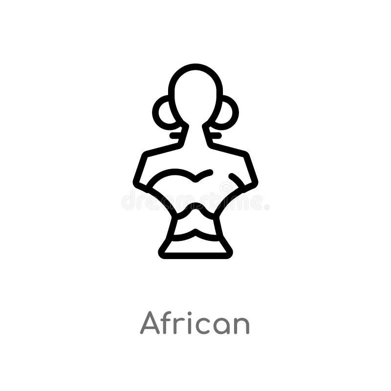 kontur afryka?ska wektorowa ikona odosobniona czarna prosta kreskowego elementu ilustracja od Africa poj?cia editable wektorowy u ilustracji