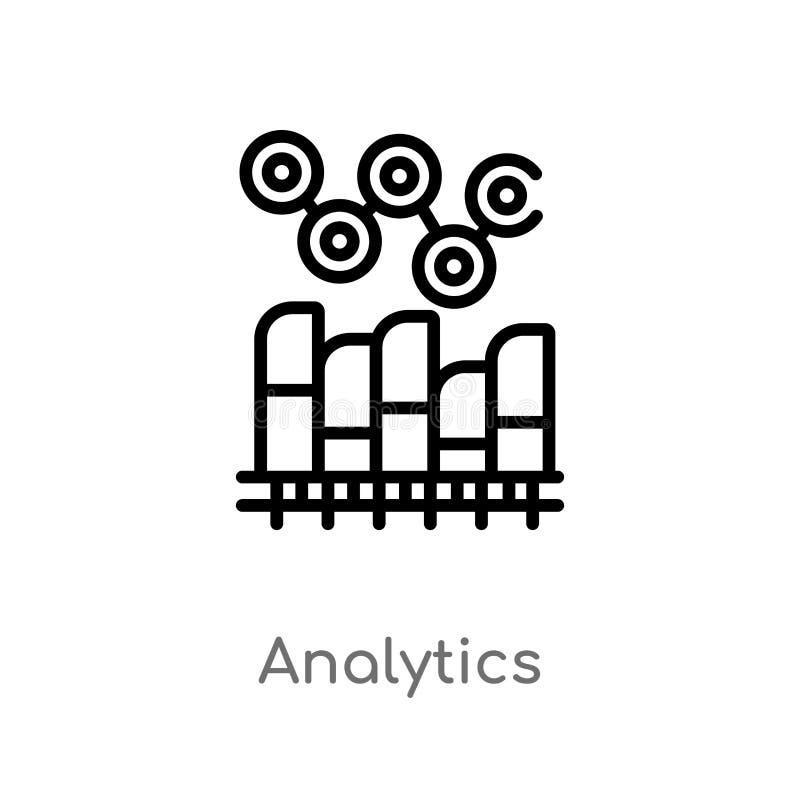 kontur analityka wektoru ikona odosobniona czarna prosta kreskowego elementu ilustracja od cyfrowego gospodarki pojęcia Editable  ilustracji