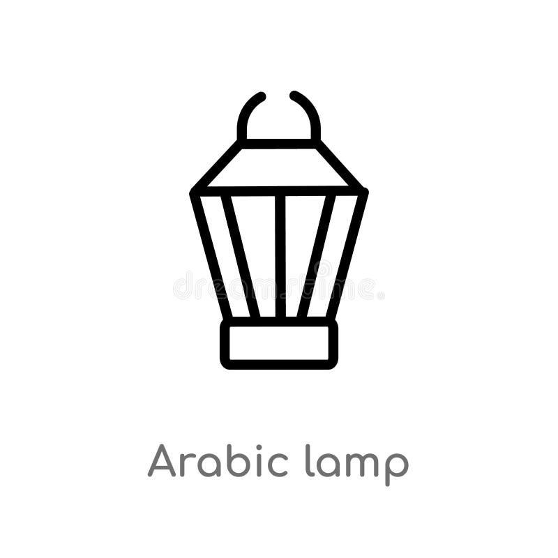 kontur arabska lampowa wektorowa ikona odosobniona czarna prosta kreskowego elementu ilustracja od religion-2 pojęcia Editable we royalty ilustracja