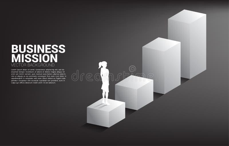 Kontur av affärskvinnaanseendet på stånggraf vektor illustrationer
