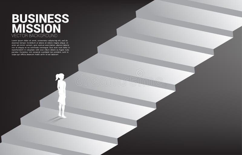 Kontur av affärskvinnaanseendet på trappan royaltyfri illustrationer