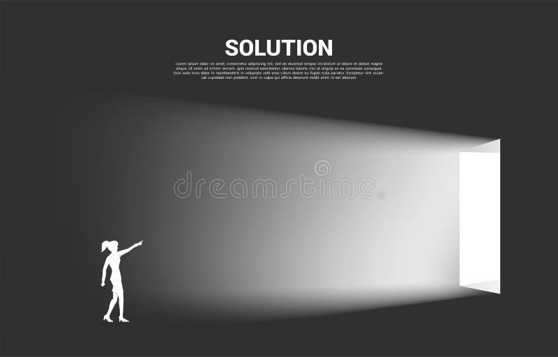 Kontur av affärskvinnapunkt framåtriktat till utgångsdörren vektor illustrationer