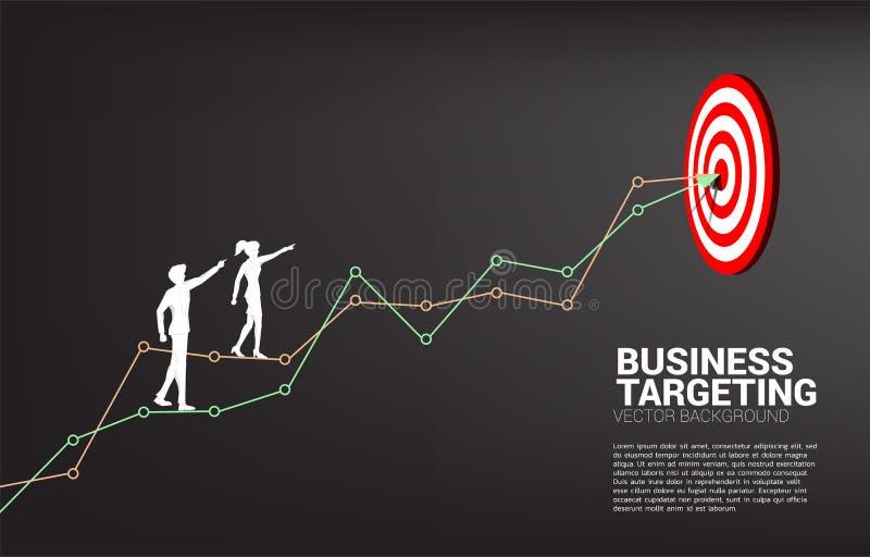 Kontur av affärsman- och affärskvinnapunkt till darttavlan på linjen graf som ska centreras av darttavla royaltyfri illustrationer