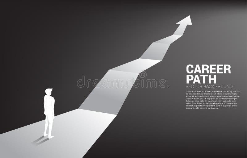 Kontur av affärsmananseendet på framåt pil stock illustrationer