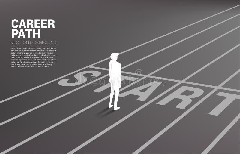 Kontur av affärsmananseendet på startlinjen royaltyfri illustrationer
